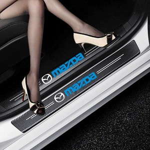 Car-Styling 4PCS Carbon Fiber Door Sill Carbon Fiber Sticker Decals For Mazda 2 Mazda 3 MS Mazda 6 CX-5 CX3 CX5 Artzma