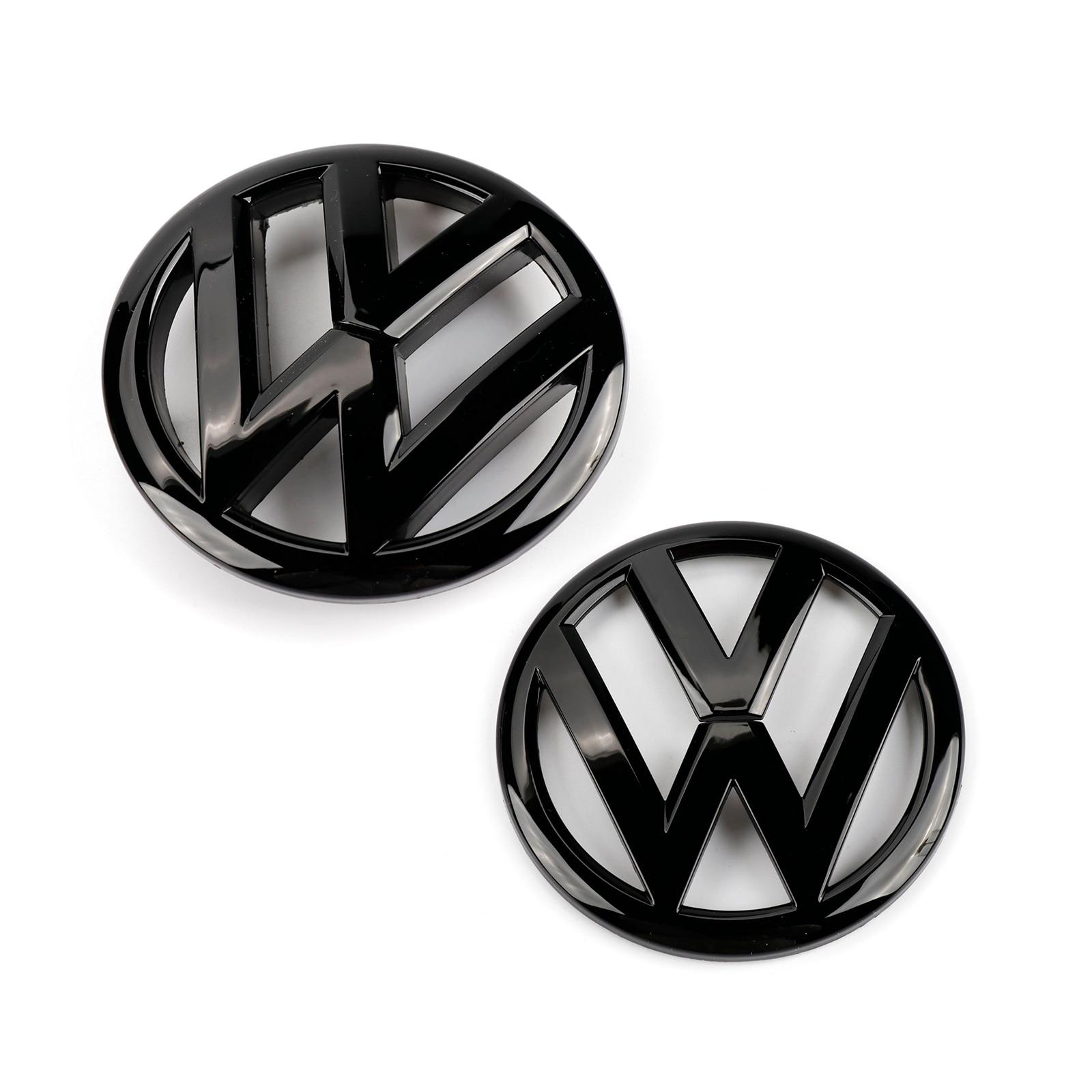 لمعان أسود 117 مللي متر الجبهة شواء شارة + 110 مللي متر الخلفية غطاء صندوق السيارة شعار ل VW Volkswagen Polo 2009 2010 2011 2012 2013