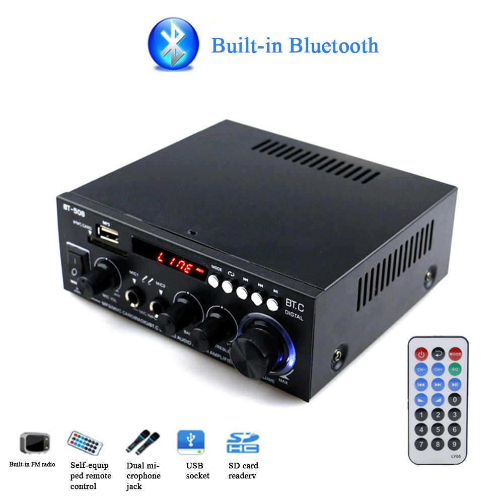 600W <font><b>HIFI</b></font> Music Bluetooth Car Home Subwoofer Mini Dual Channel Power <font><b>Amplifier</b></font> Audio Sound System Digital With Remote Control image