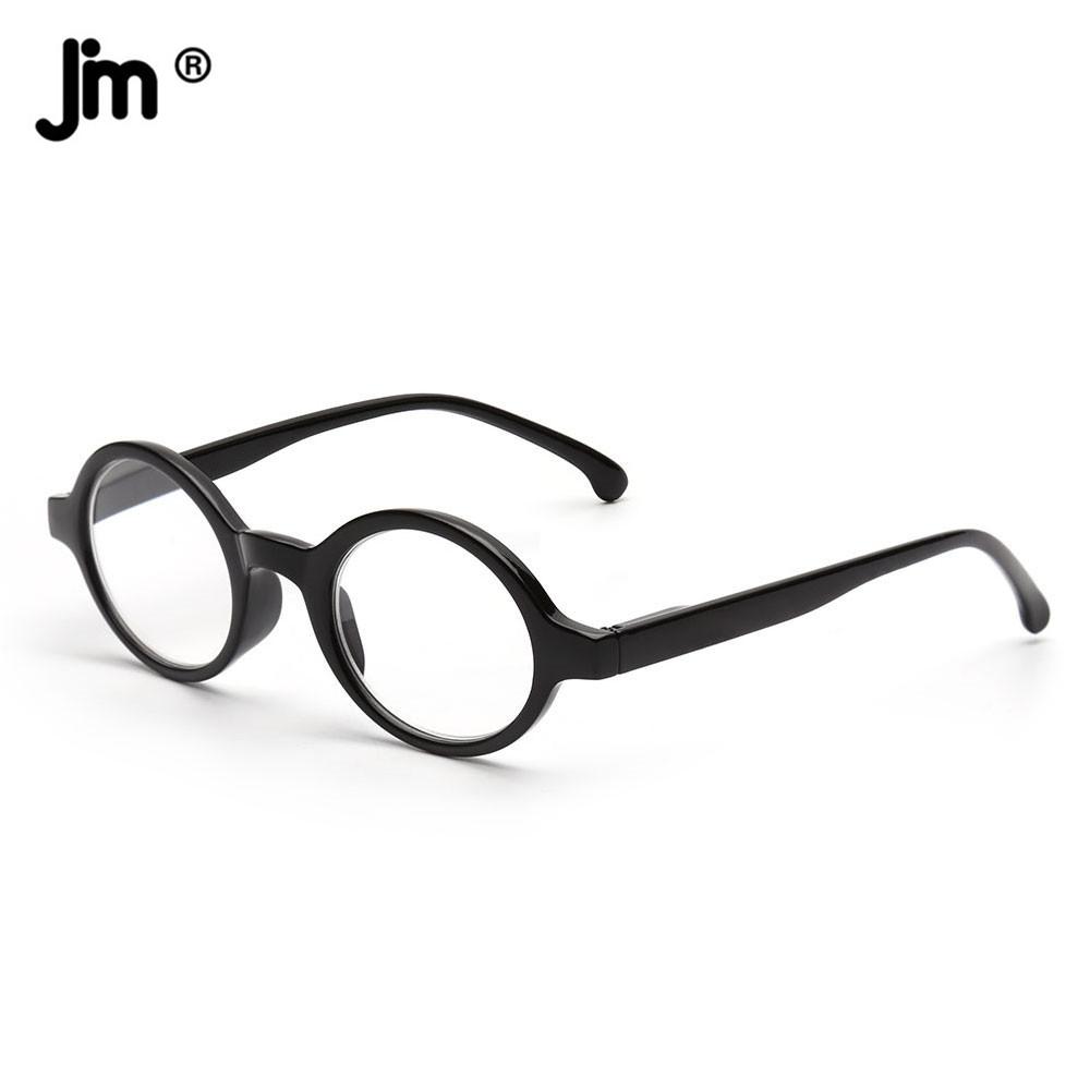 JM Spring Hinge Round Reading Glasses Women Men Diopter Magnifier Presbyopic Glasses Black +0.5 +6