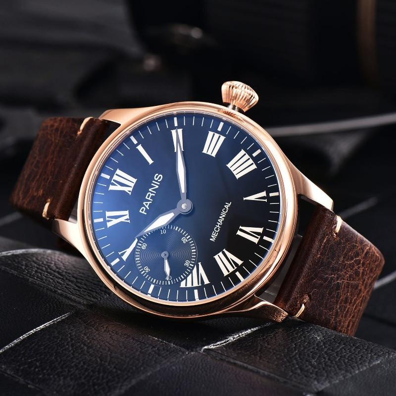 Parnis 44mm Hand Winding Men Wristwatch Case Mechanical Movement Leather Strap Luminous Waterproof Watch Men