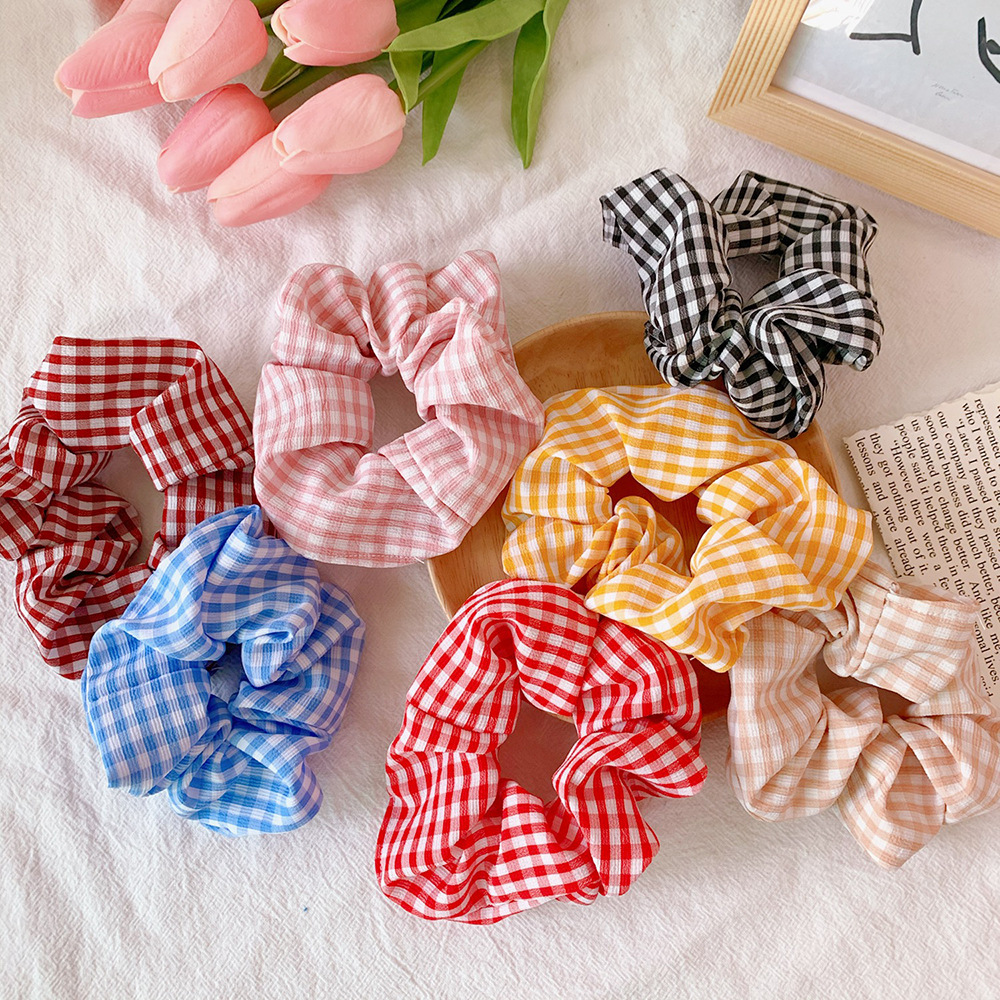 Fabric Hair Ties Women Plaid Large Intestine Hair Bands Headwear Hair Accessories