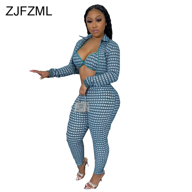 Plaid Sexy 3 Piece Set Women Halter Backless Bra Top + Turn Down Collar Long Sleeve Zippers Coat + Pencil Pants Festival Outfits