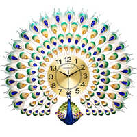 Large Peacock Wall Clock 3d Luxury Entrance Decoration Clocks Creative Living Room Wall Watches Home Decor Silent Gift SC462
