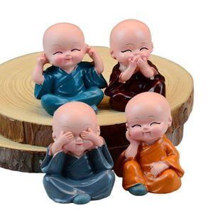 Image 5 - Adornos de coche, 4 unidades/juego de cabezas de Bobble de resina, decoración de muñecas Tomy Monks, Maitreya Buda, regalo de figura, Charms con colgante automático