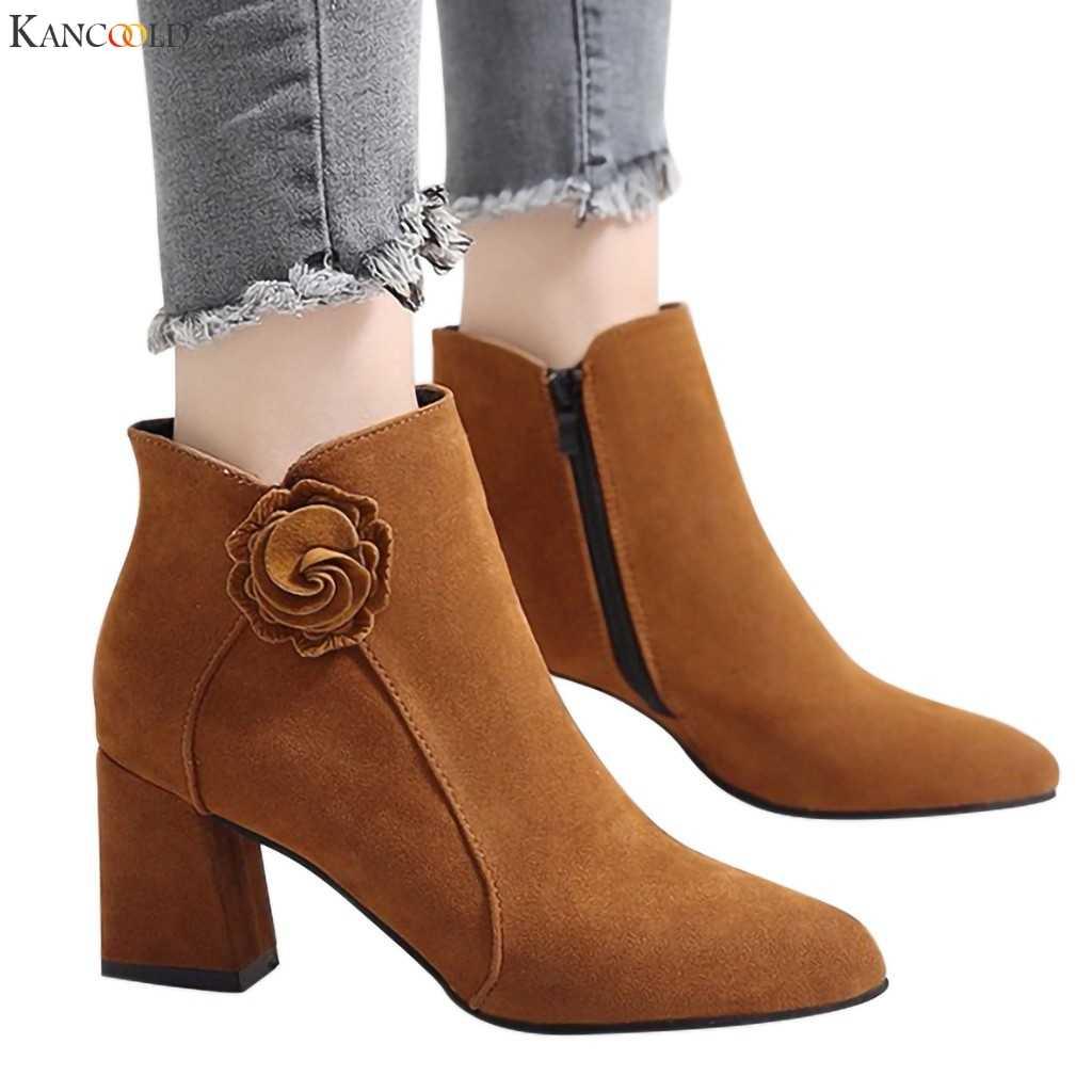 KANCOOLD kadın Moda çizmeler kadın Katı Çiçek yarım çizmeler kadınlar için Fermuar Sivri Burun günlük çizmeler Ayakkabı kadın yüksek topuk