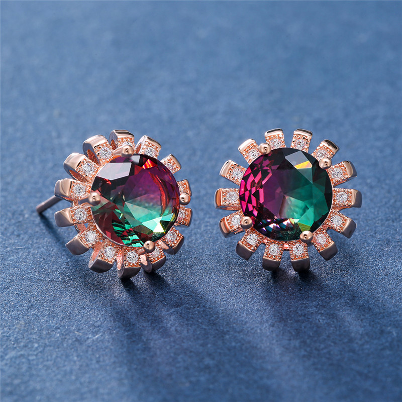 Mystic Fire Rainbow Crystal Round Flower Stud Earrings for Women Vintage Fashion Rose Gold Filled Multicolor Zircon Earring Gift