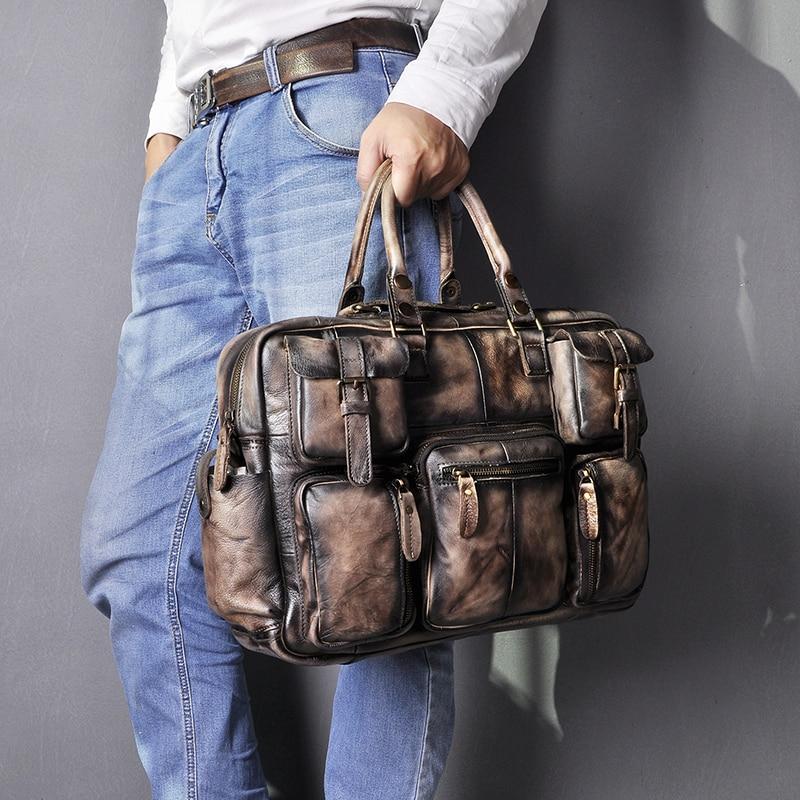 """H9601b1dc22bd460288ef610f6ac10308c Men Real Leather Antique Large Capacity Travel Briefcase Business 15.6"""" Laptop Case Attache Messenger Bag Portfolio 3061-b"""