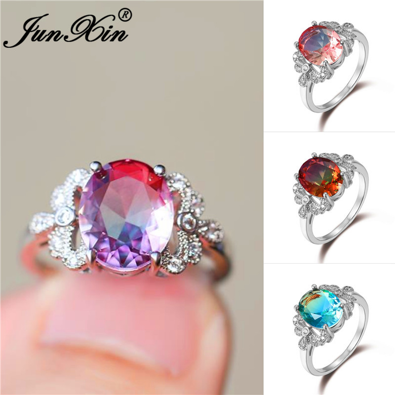 Wedding-Rings Jewelry Engagement-Band Crystal Mystic Blue-Stone Pink Silver-Color Green