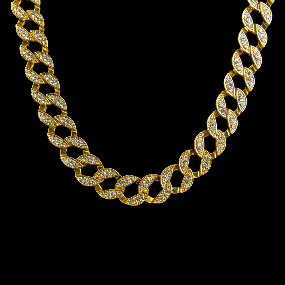 Hip Hop Iced Out Chain Cubic Zircon Bling Cuba 18 20 24 30 Inch Necklace Gold Silver Men Rhinestone Charm Necklace Jewelry Gift CLOVER JEWELLERY