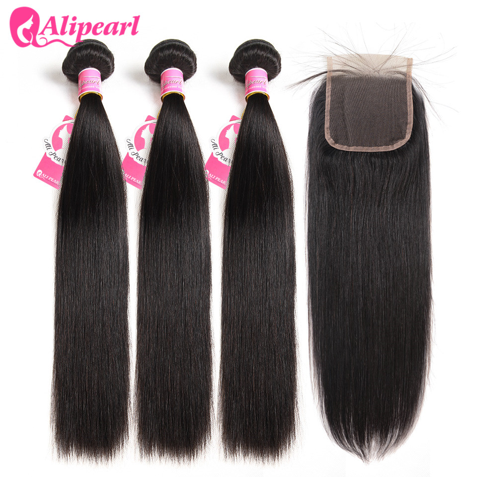 AliPearl Hair 100% Human Hair Bundles With Closure Brazilian Straight Hair Weave 3 Bundles Natural Black Remy Hair Extensions
