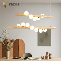 TRAZOS Wooden Chandelier With Frosted Glass Decoration For Living Room Modern 110V 220V Metal Bedroom Chandelier Lighting