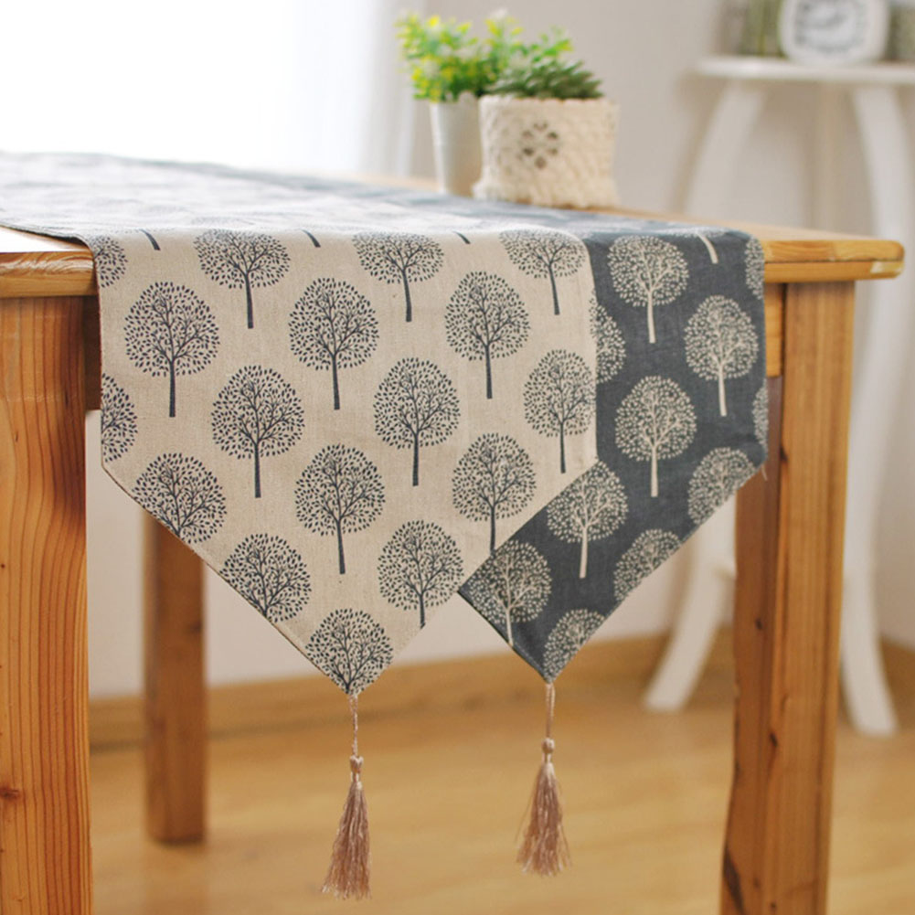 33cm*160/180/200/220/240cm Table Runner Modern Tree Pattern Chirstmas Party Wedding Decor Crafts Linen Cotton Table Runner