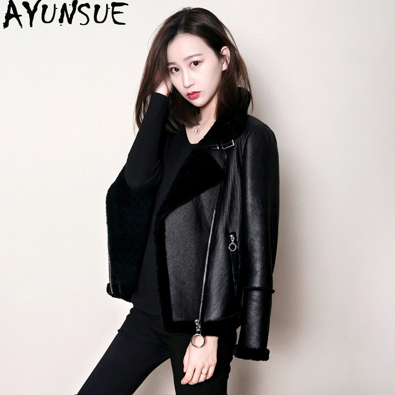 AYUNSUE Double Faced Fur Coat Female Natural Sheep Shearling Fur Coats Winter Jacket Women Genuine Leather Bomber Jacket MY4088