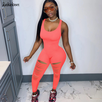 Sexy U Neck Cut Out Leg Jumpsuits Bandage Hollow Out Bodycon Overalls Club Body Backless Bodycon Rompers Womens Jumpsuit cut out neck wide leg halter jumpsuit