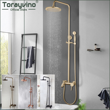 цена на Torayvino Best Quality Bathroom Shower Faucet Set Round Rainfall Shower Head Handshower Wall Mounted Combo Kit Mixer Tap