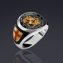 Creative Saint St George Ring Men's Vintage Holy Templar Patron Knight Dragon Cross Ring for Male Wedding Engagement Jewelry