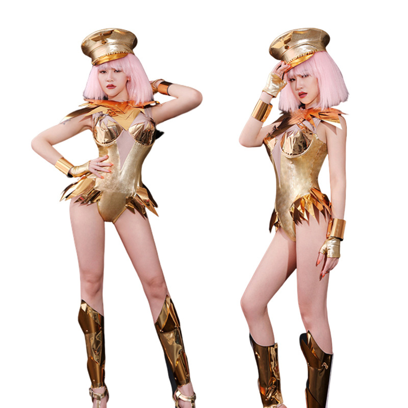 European And American Nightclub DISCO Costumes New Sexy Personality Girl DJ Singer Bar Golden Stage Performance Costume