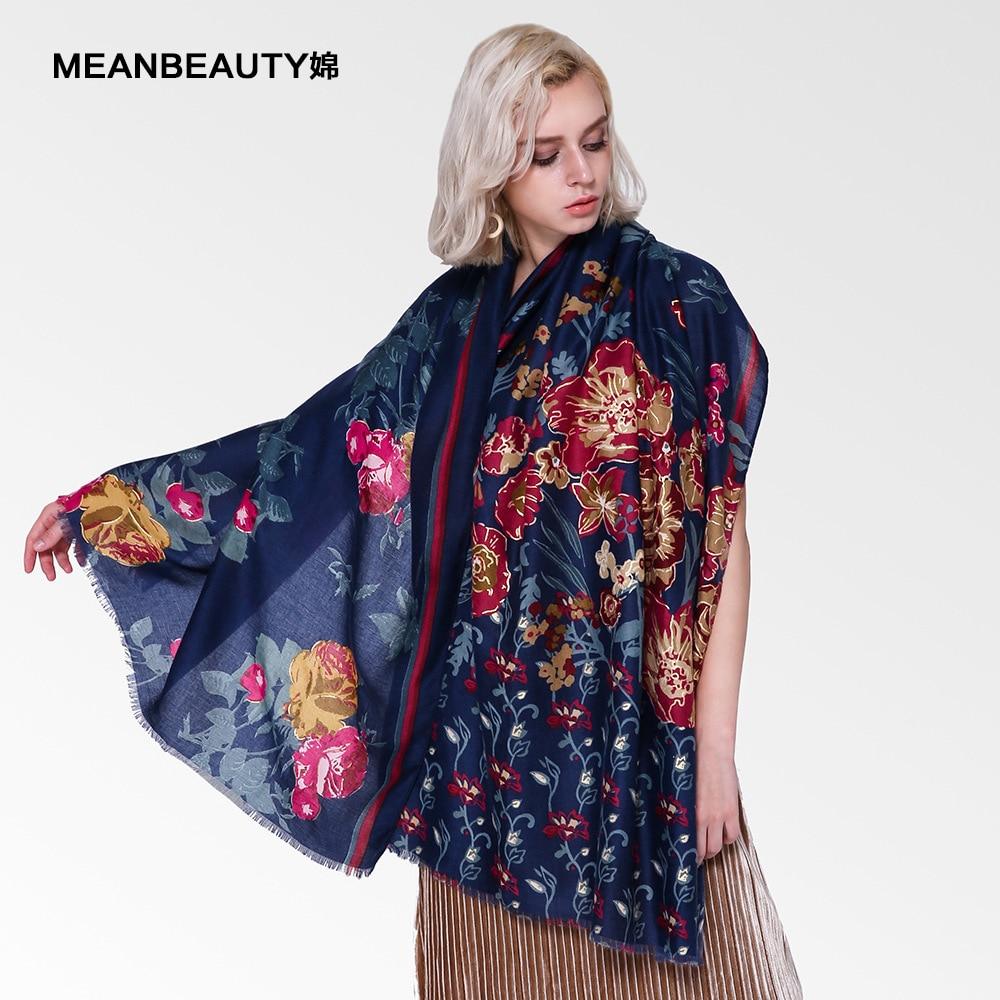 Limited Edition  Satin print half-sided flower plus gold scarf women's winter new Muslim scarf