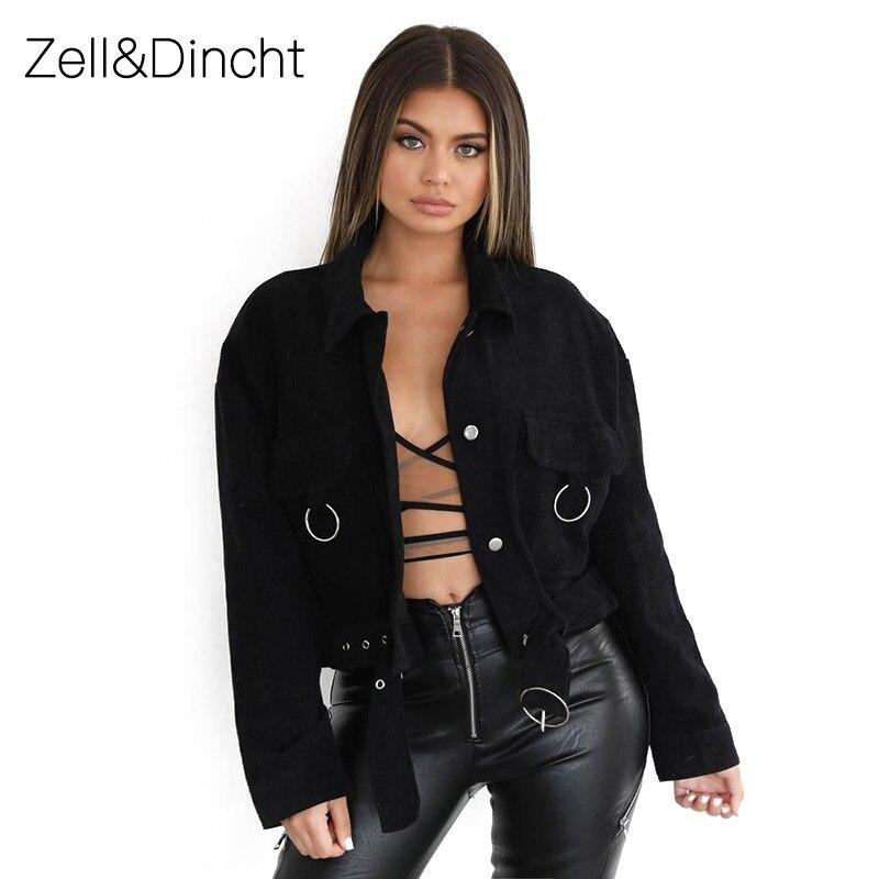 Zell&Dincht Casual Sport   Jackets   Women loose   Jacket   with belt Spring Autumn Black Women Coat Female Outwear Street   Basic     Jacket