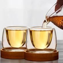 Bodum design de parede dupla xícara de chá conjunto de bandeja de bambu anti-quente tasse café scented chá copos de café copos tazas bardak xicara queda