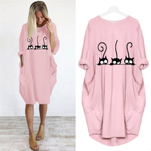 Dress Plus-Size Maxi-Clothes Party Vintage Casual Women Pocket Cartoon Fall Cat-Printing