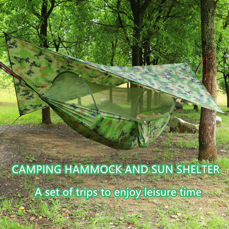 Pop Up Portable Camping Hammock with Mosquito Net and Sun Shelter,Parachute Swing Hammocks Rain Fly Hammock Canopy Camping Stuff|Hammocks| - AliExpress