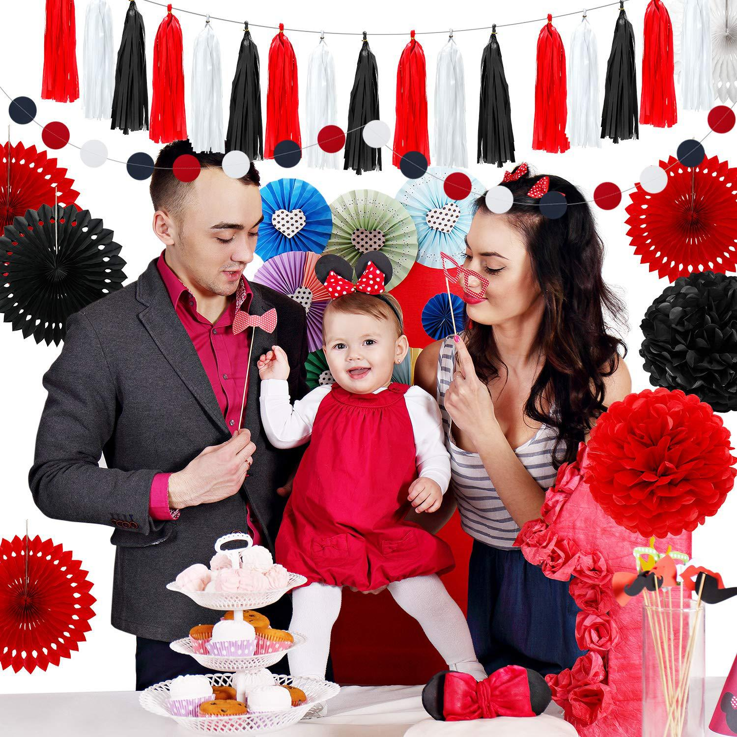 Baby Shower Graduation Ceremony Party Decoration Set Red White Black Tissue Paper PomPoms Flowers Hollow Fans Tassel Garland