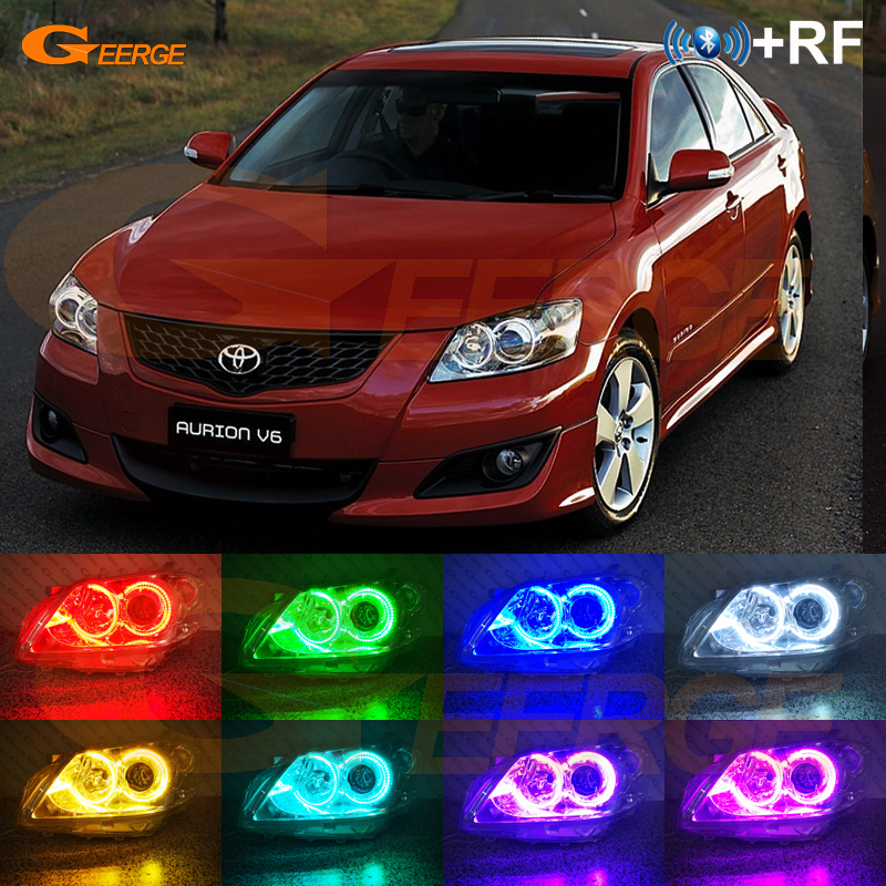 For Toyota Aurion GSV40 2006 2007 <font><b>2008</b></font> 2009 <font><b>CAMRY</b></font> RF Bluetooth APP Multi-Color Ultra bright RGB LED Angel Eyes Halo Ring kit image