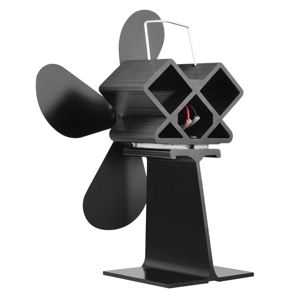Hot Black Stove Fan 4 Blade Fireplace Fan Heat Powered Komin Wood Burner Eco Fan Friendly Quiet Home Efficient Heat Distribution