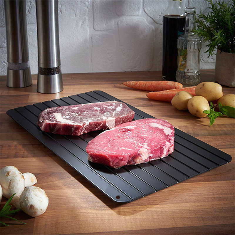 Kitchen Thaw Meat Frozen Food Safety Tool Fast Defrosting Tray Teflon Surface Defrost Frozen