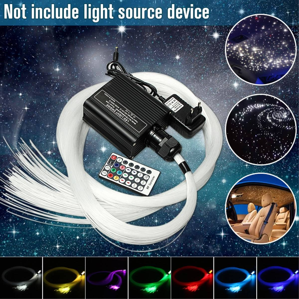300pcs Optic Fiber Lights RGB Twinkle LED Fiber Optic Star Ceiling Light 2m*0.75mm Optical Fiber Cable