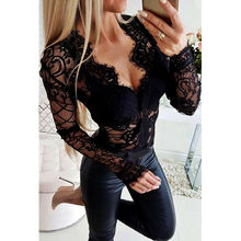 Sexy Women Lace See-through Mesh Sheer Jumpsuit Bodycon Bodysuit Leotard Long Sl