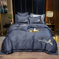 Gray Yellow White Blue Pink Purple Egyptian Cotton Feather Embroidery Duvet Cover Bed Linen Fitted Sheet Pillowcases Bedding Set