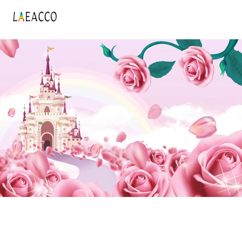 Laeacco Rainbow Castle Pink Rose Flower Spring Party Wallpaper