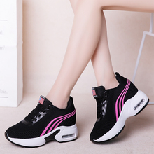 Fashion Fly Knit Height Increased Casual Shoes Woman Breathable Lace Up Platform Sneakers Women Wedges XU088