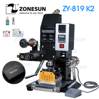 ZONESUN 819k2 116*120mm Pneumatic Automatic hot foil Stamping Machine leather Gift Box Business card LOGO Creasing machine