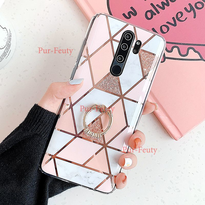 Silicone Cover Finger <font><b>Ring</b></font> Stand For Xiaomi Redmi <font><b>Note</b></font> 9S 8 <font><b>9</b></font> Pro Max 7 6 5 Phone <font><b>Case</b></font> Redmi 8 8A Geometric Marble back <font><b>Case</b></font> image
