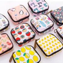 Женская мини-косметичка с мультяшным цветочным принтом, санитарная сумка для салфеток, дорожная губная помада, Туалетная монета, органайзер для денег, Набор сумок