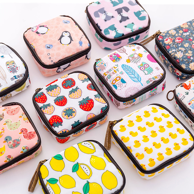 Women Mini Cosmetic Bag Cartoon Floral Animal Sanitary Napkins Bag Travel Lipstick Toiletry Coin Money Card Organizer Set Pouch