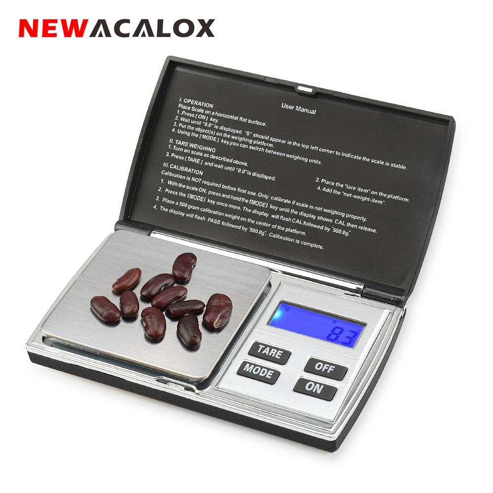 NEWACALOX 500g x 0,01g Bilance digitali di precisione per bilance per gioielli in oro 0,01 Bilance tascabili Bilance elettroniche in acciaio inossidabile