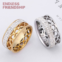Endless Friendship Lover Silver Golden Ring Fashion Women Diamond Couple Rings For Woman anillos mujer Anniversary Gift