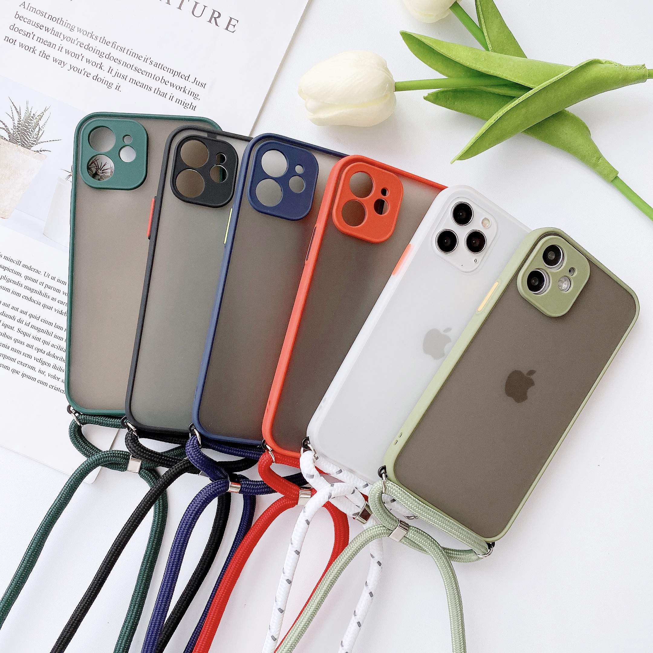 skin feeling Protection Strap Cord Chain Phone case on For iPhone 12 11 Pro Max 8 7 6 Plus Xr X Xs Max SE 2020 Lanyard soft Cove