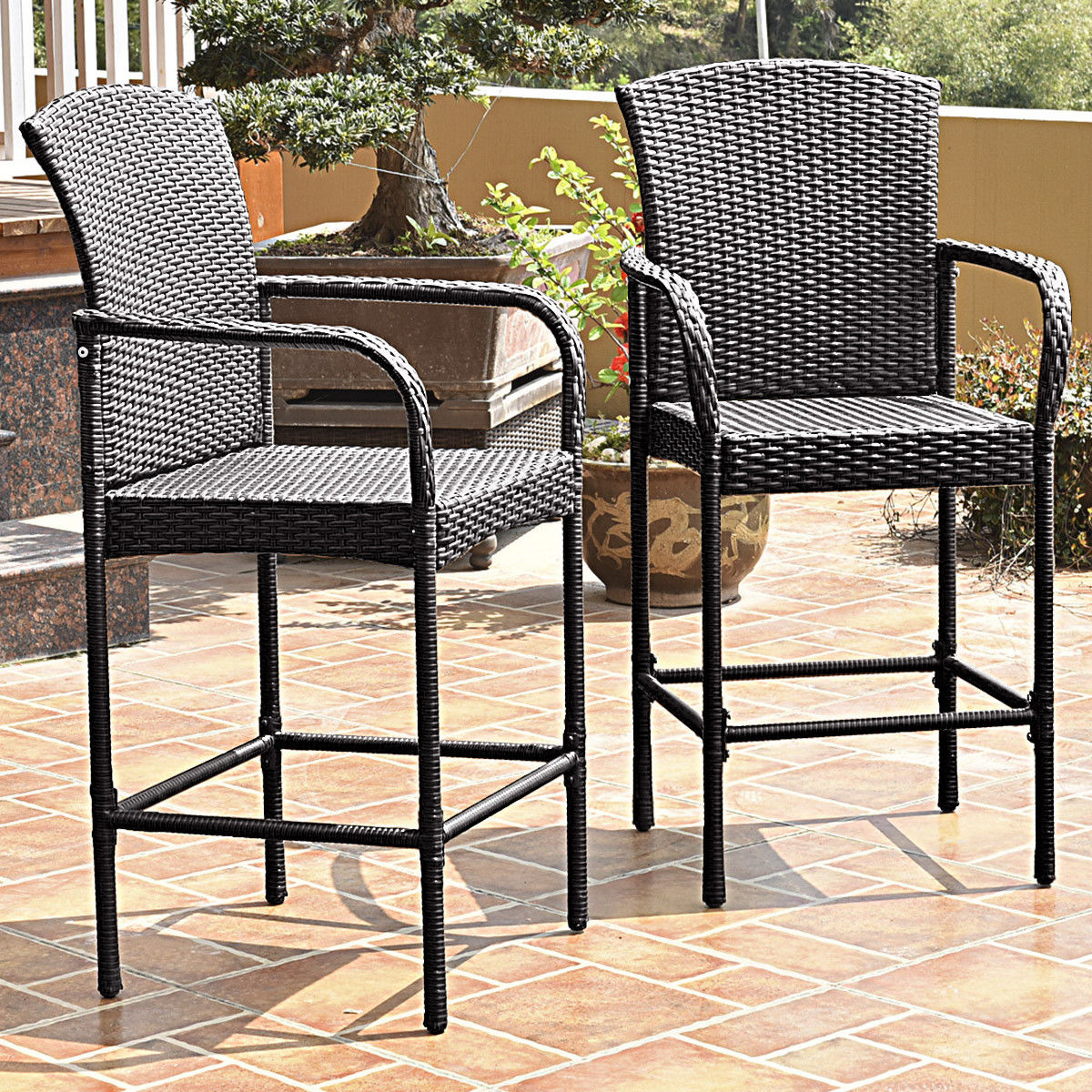 Costway 2PCS Rattan Bar Stool Dining High Counter Portable Chair Patio Furniture