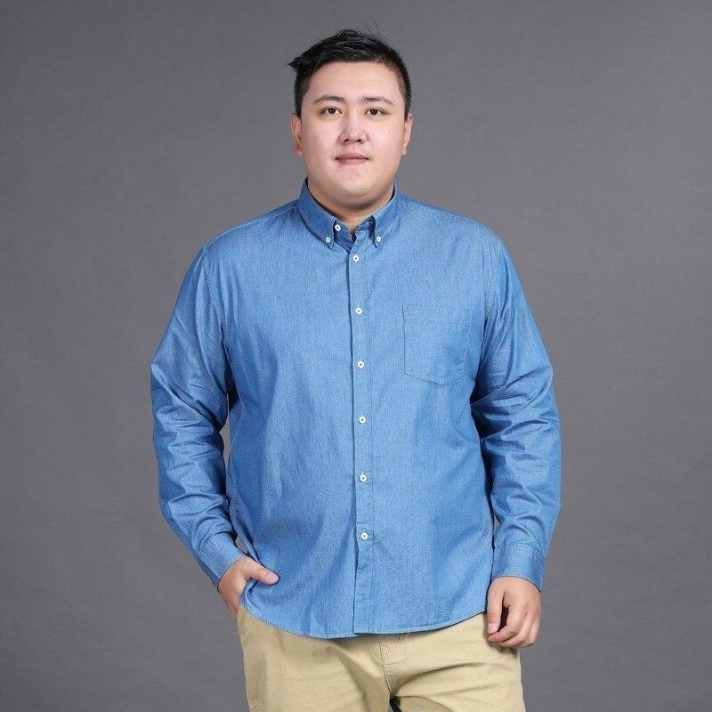 New Plus Size 8xl 7xl Jeans Mens Shirts Cotton Long Sleeve  Oxford Slim Camisa Social 2020 Autumn Denim Shirt Men Brand-clothing