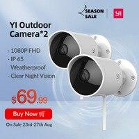 YI telecamere di sorveglianza per esterni Kit da 2 pezzi Bullet WiFi IP con Slot per schede SD e sistema di sicurezza impermeabile Wireless Cloud