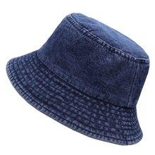 Fisherman Hat Flat-Bucket-Hats Summer Denim Sun-Hat Big-Size Men's Old 55-58cm 58-62cm