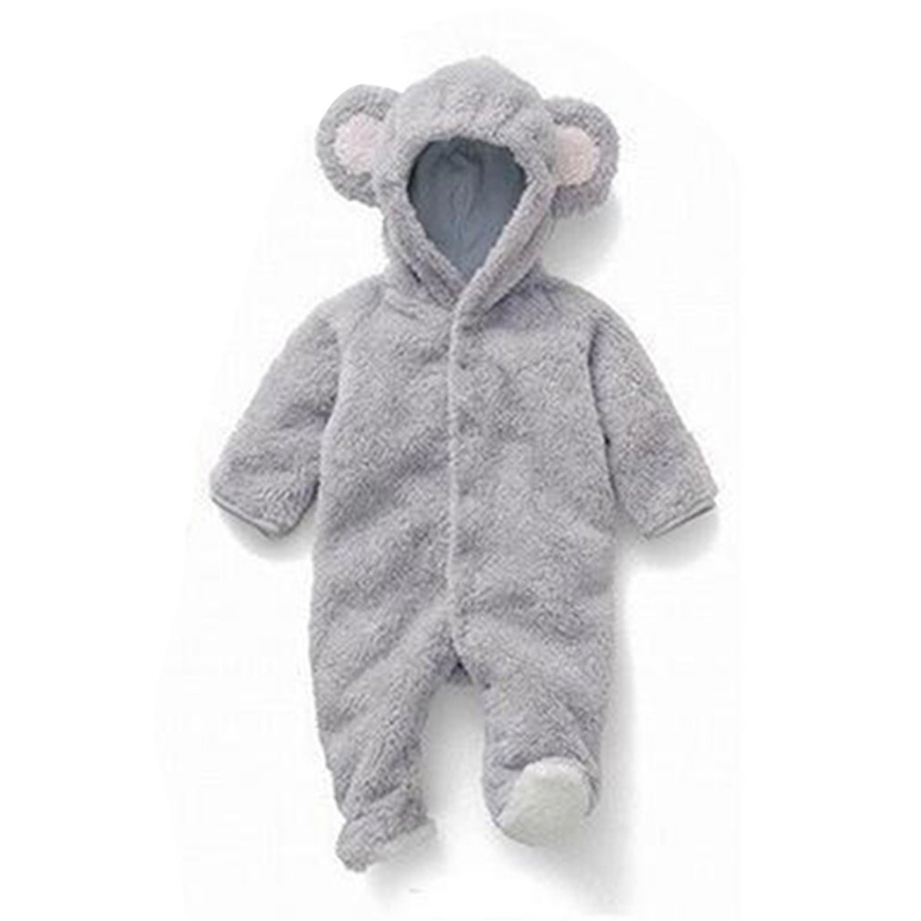 New Baby Romper Winter Toddler Baby Girl Set Newborn Baby Girl Boy Solid Cartoon Hooded Jumpsuit Romper Clothes