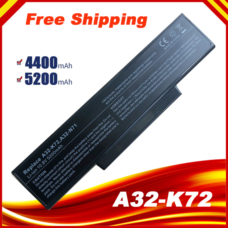 [Special Price]  A32 K72  battery 5200mAh for Asus K73 K73E K73J K73S K73SV N71 N73 X72 Battery K72|battery 5200mah|battery a32-k72|battery for asus - title=
