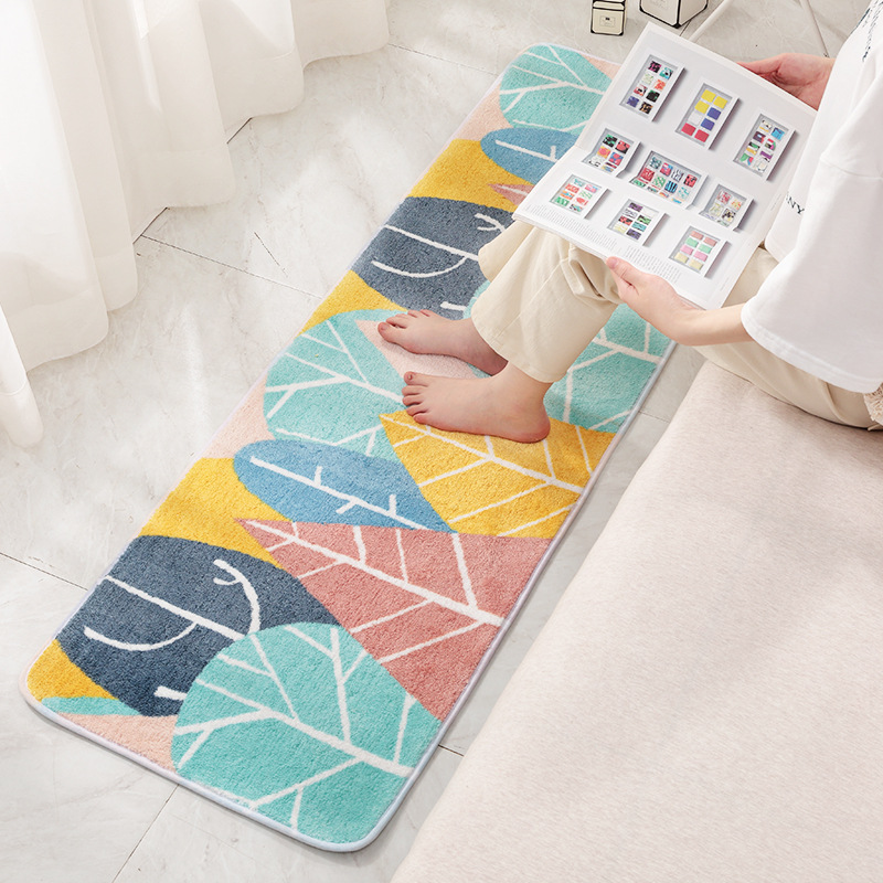 Tapis de chevet épaissi tapis de cuisine tapis de sol Rectangle entrée paillasson moderne Style Pastoral Absorption d'eau tapis anti-dérapant